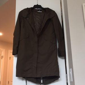 Hooded khaki coat